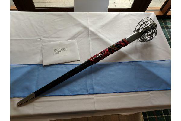 a sword on a table